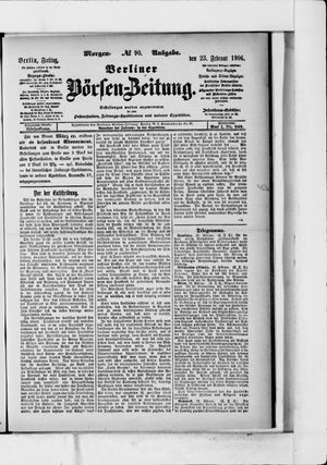 Berliner Börsen-Zeitung vom 23.02.1906