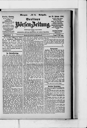 Berliner Börsen-Zeitung vom 25.02.1906