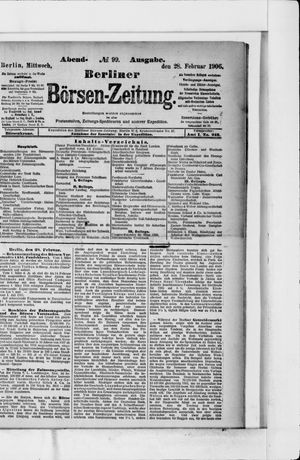 Berliner Börsen-Zeitung vom 28.02.1906