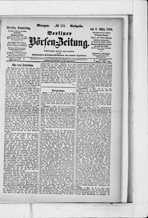Berliner Börsen-Zeitung vom 08.03.1906