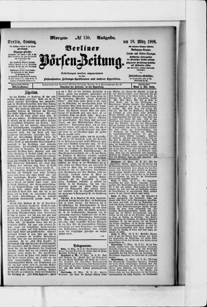 Berliner Börsen-Zeitung vom 18.03.1906