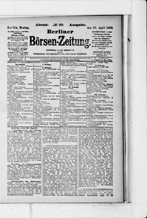 Berliner Börsen-Zeitung vom 30.04.1906