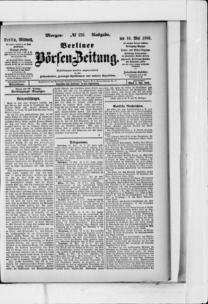 Berliner Börsen-Zeitung vom 16.05.1906