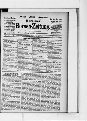 Berliner Börsen-Zeitung vom 21.05.1906