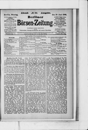 Berliner Börsen-Zeitung vom 19.06.1906