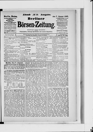 Berliner Börsen-Zeitung vom 07.01.1907