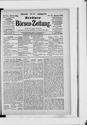 Berliner Börsen-Zeitung vom 17.01.1907
