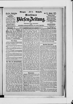 Berliner Börsen-Zeitung vom 31.01.1907