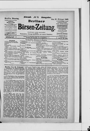 Berliner Börsen-Zeitung vom 12.02.1907