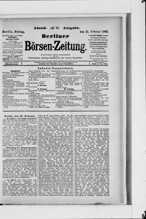 Berliner Börsen-Zeitung vom 15.02.1907