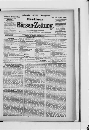 Berliner Börsen-Zeitung vom 25.04.1907