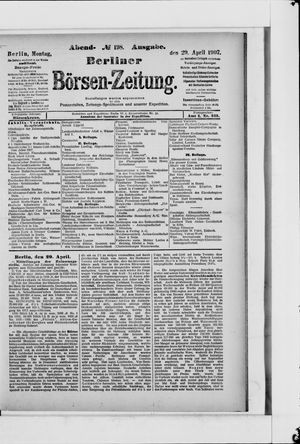 Berliner Börsen-Zeitung vom 29.04.1907