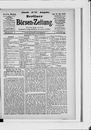 Berliner Börsen-Zeitung on May 13, 1907