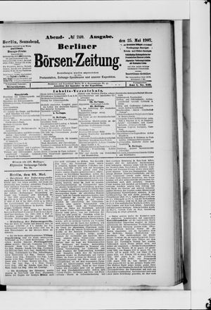 Berliner Börsen-Zeitung vom 25.05.1907
