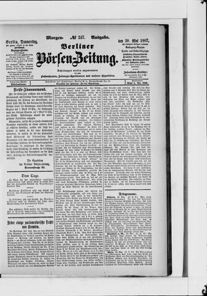 Berliner Börsen-Zeitung vom 30.05.1907