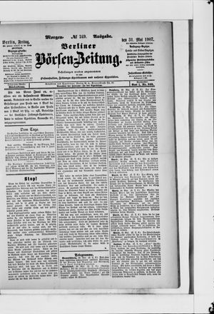 Berliner Börsen-Zeitung vom 31.05.1907