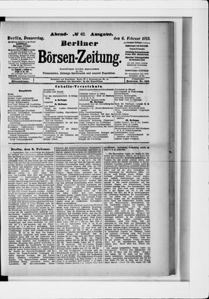 Berliner Börsen-Zeitung vom 06.02.1913