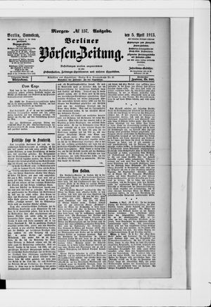 Berliner Börsen-Zeitung vom 05.04.1913