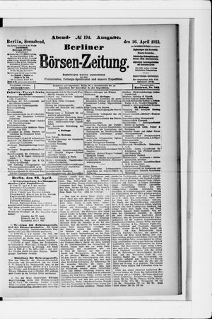Berliner Börsen-Zeitung vom 26.04.1913
