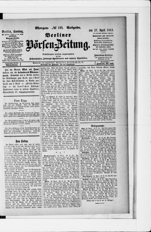 Berliner Börsen-Zeitung vom 27.04.1913