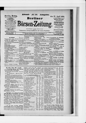 Berliner Börsen-Zeitung vom 28.04.1913