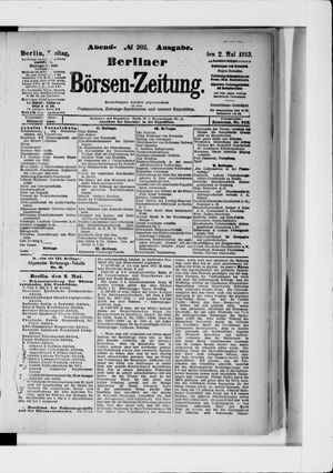 Berliner Börsen-Zeitung vom 02.05.1913