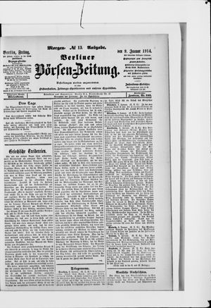 Berliner Börsen-Zeitung vom 09.01.1914