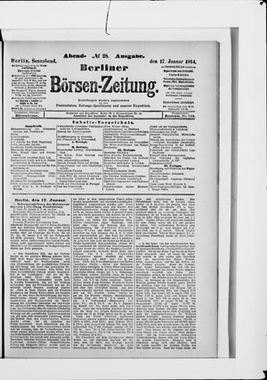 Berliner Börsen-Zeitung vom 17.01.1914