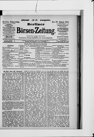Berliner Börsen-Zeitung on Jan 29, 1914
