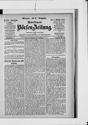 Berliner Börsen-Zeitung vom 05.02.1914