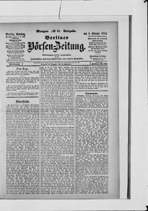 Berliner Börsen-Zeitung vom 08.02.1914