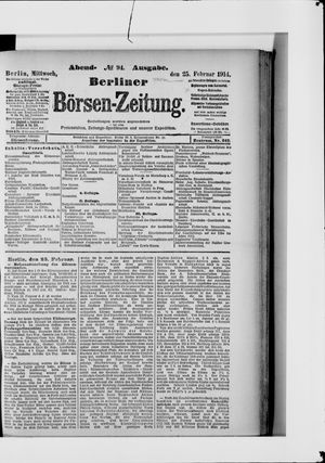 Berliner Börsen-Zeitung vom 25.02.1914