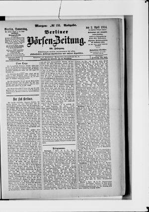 Berliner Börsen-Zeitung vom 02.04.1914