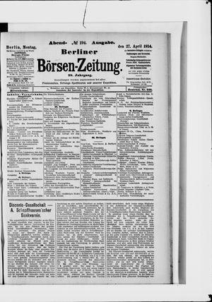 Berliner Börsen-Zeitung vom 27.04.1914