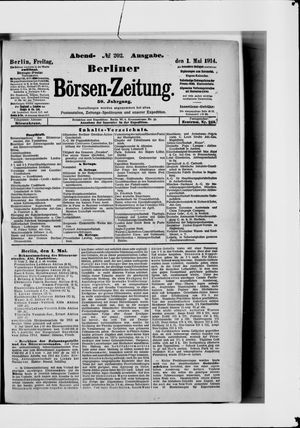 Berliner Börsen-Zeitung vom 01.05.1914