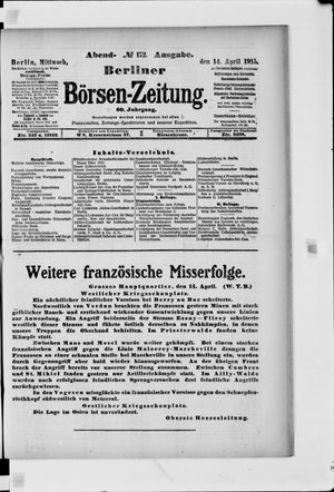 Berliner Börsen-Zeitung vom 14.04.1915