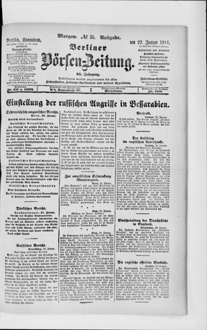 Berliner Börsen-Zeitung vom 22.01.1916