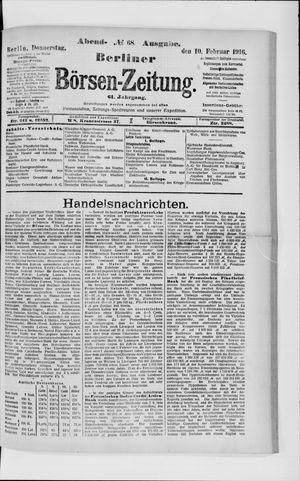 Berliner Börsen-Zeitung vom 10.02.1916