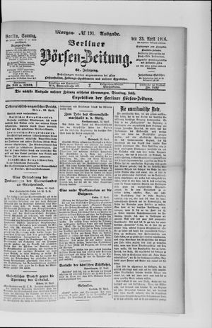 Berliner Börsen-Zeitung vom 23.04.1916