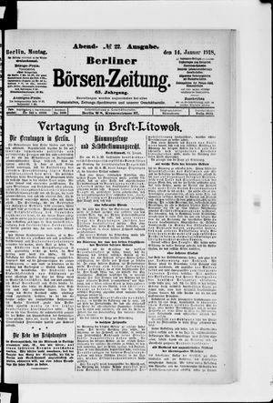 Berliner Börsen-Zeitung vom 14.01.1918