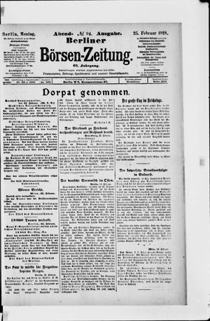 Berliner Börsen-Zeitung vom 25.02.1918
