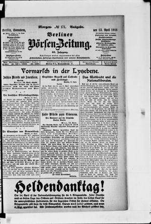 Berliner Börsen-Zeitung vom 13.04.1918