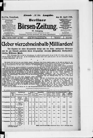 Berliner Börsen-Zeitung vom 20.04.1918