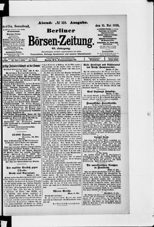 Berliner Börsen-Zeitung vom 11.05.1918