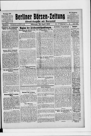 Berliner Börsen-Zeitung vom 23.04.1919