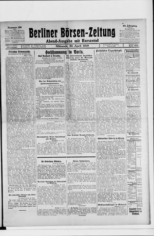 Berliner Börsen-Zeitung vom 30.04.1919