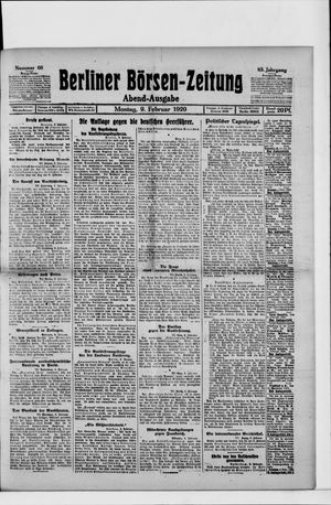 Berliner Börsen-Zeitung vom 09.02.1920