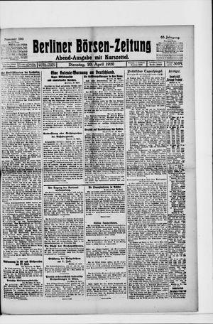 Berliner Börsen-Zeitung vom 20.04.1920