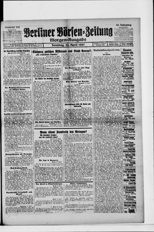 Berliner Börsen-Zeitung vom 25.04.1920