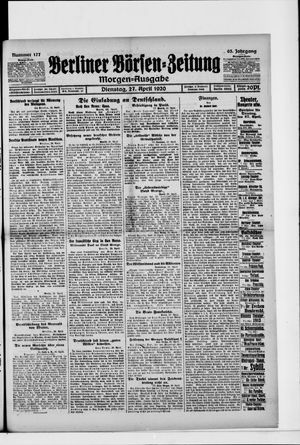 Berliner Börsen-Zeitung vom 27.04.1920